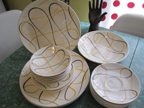 SALE Vintage Instant Collection of Homer Laughlin Rhythm Calypso Dura Print Dinnerware /1950's/