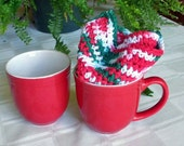 Christmas Dishcloths - Crocheted  Dish Cloth - Cotton - Large - Two 10 Inch Squares - Red, White and Green