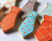 Hand Decorated Sugar Cookies Dress Ties // 1 Dozen // Birthday // Father's Day // Baby Shower // Individually wrapped and and packaged