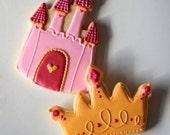 Hand Decorated Princess Themed Sugar Cookies // 1 Dozen // JUMBO SIZED // Castles & Princess Crowns