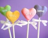 Valentine's Day Conversation Heart Cake Pops // 1 Dozen Truffles