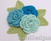 "Bluegreens Mix 1-1/4"" Crochet Rose Flower Embellishments w/ Leaves Handmade Applique Scrapbooking Fashion Accessories - 9 pcs.(318-2)"