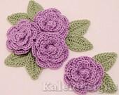 "Lavender 1-1/4"" Crochet Rose Flower Embellishments w/ Leaves Handmade Applique Scrapbooking Fashion Accessories - 12 pcs. (307-1)"