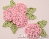 "Petal Pink 1-1/4"" Crochet Rose Flower Embellishments w/ Leaves Handmade Applique Scrapbooking Fashion Accessories - 12 pcs. (311-1)"