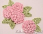 "Petal Pink 1-1/4"" Crochet Rose Flower Embellishments w/ Leaves Handmade Applique Scrapbooking Fashion Accessories - 12 pcs. (311-1)"