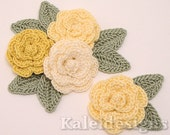 "Yellow Mix 1-1/4"" Crochet Rose Flower Embellishments w/ Leaves Handmade Applique Scrapbooking Fashion Accessories - 12 pcs. (317-1)"