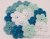 "Bluegreen Mix 7/8"" Crochet 6-Petal Flower Embellishments Handmade Applique Scrapbooking Fashion Accessories - 16 pcs. (405-1)"