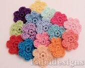 "Fairy Tales Mix 7/8"" Crochet 6-Petal Flower Embellishments Handmade Applique Scrapbooking Fashion Accessories - 16 pcs. (409-1)"