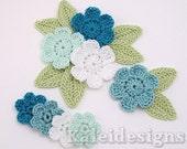 "Bluegreens Mix 7/8 - 1-1/4"" Crochet 6-Petal Flower Embellishments w/ Leaves Handmade Applique Scrapbooking Accessories - 16 pcs. (405-2)"