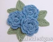 "Cornflower Blue 1-1/4"" Crochet Rose Flower Embellishments w/ Leaves Handmade Applique Scrapbooking Fashion Accessories - 9 pcs. (309-2)"