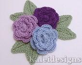 "Purple Mix 1-1/4"" Crochet Rose Flower Embellishments w/ Leaves Handmade Applique Scrapbooking Fashion Accessories - 9 pcs. (314-2)"