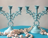 Candle Stick Holders  in Chippy Light Blue - Set of Two-