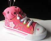 Recycled Pink Baby Slipper Pincushion