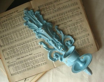 Sale-Light Blue Shabby Chic Wall Candle Stick Holder