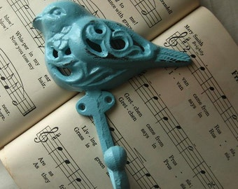 Cast Iron Bird Hook Hanger  in Robins Egg Blue