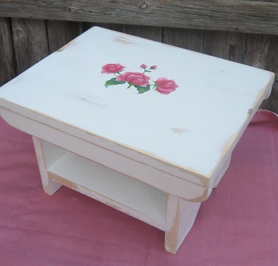 Handmade Bench / Foot / Stepping Stool  in White With  Rose Design/ French