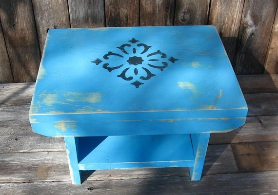 Rustic Country  Handmade Bench in Light Blue with Black Design