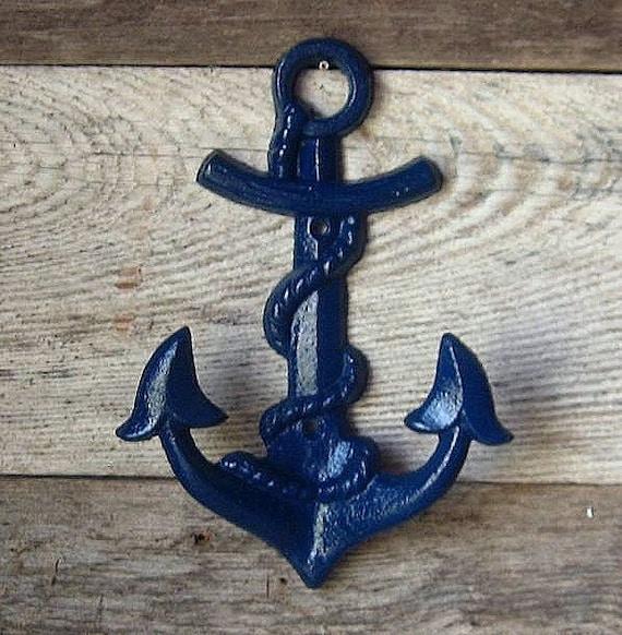 Cast Iron Anchor Wall Hanger Hook- Royal Baby Blue/Shark Week