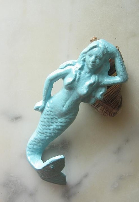 New Color Shabby Chic Nautical Iron Mermaid Hook in Light Blue