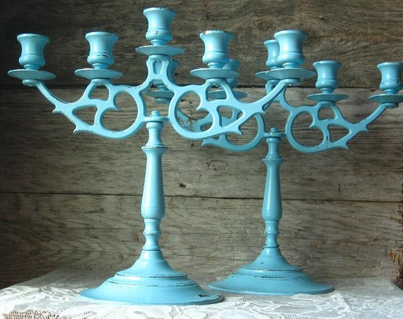 Large Shabby Chic Light Blue Candle Stick Holders - Set of Two-