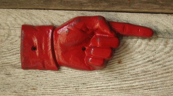 Cast Iron Pointer Hand Sign/  /Rustic Industrial