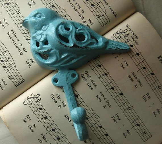 Cast Iron Bird Hook Hanger  in Robins Egg Blue