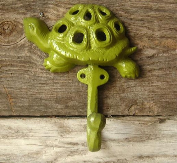 Cast Iron Turtle Hook /Hanger /Kids Room Painted in Chartreuse
