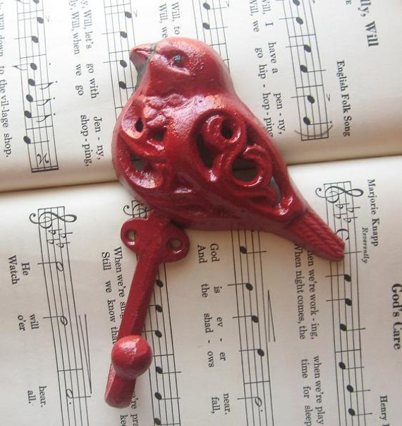 Cast Iron Bird Hook ,Painted in Red