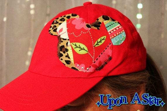 One of A Kind Favorite Mouse Appliqued Hat in Red