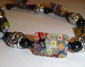 Millefiore Bracelet with Black and Silver Accent Beads