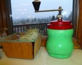 Vintage Antique 1930a 1940s Jadeite Apple Green Red Kitchen Spice Grinder