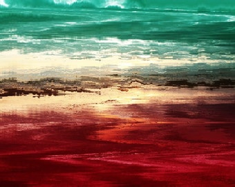 LOST AT SEA contemporary abstract art print, teal turquoise red wall decor, home or office decor