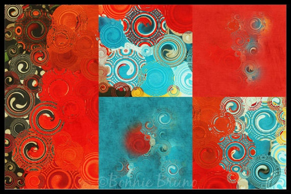Red Turquoise Teal  Contemporary Art Print - colorful abstract modern home decor,office decor, colorful swirls wall decor