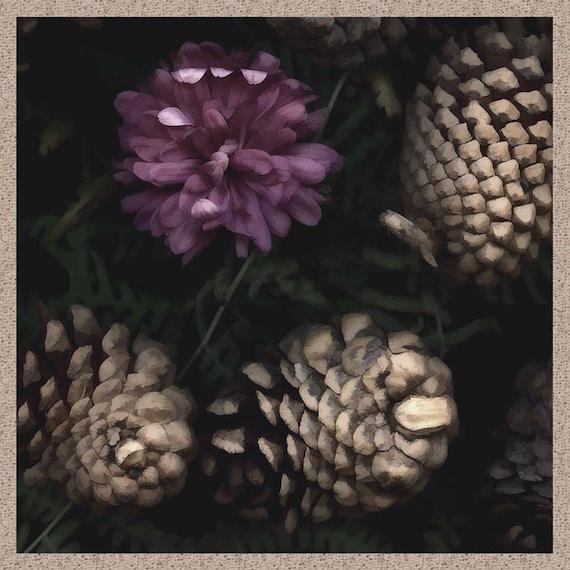 Between Two Seasons - painterly pinecones, mauve dahlia - seasonal wall decor, nature photography, fine art print