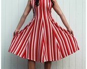 Vintage Red and White Striped Sailor  Dress