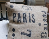 Industrial French Burlap Pillow Cover