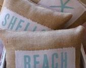 ORIGINAL...Petite Sea Glass and Starfish Beach Pillows