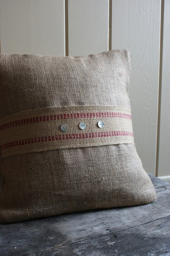 Modern Pillow Covers Etsy : Modern Burlap Pillow Cover by MyAdobeCottage on Etsy