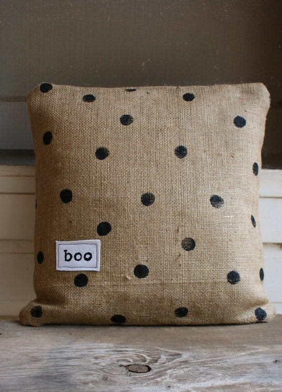 Boo...It's a Halloween Black Polka Dot Burlap Pillow Cover