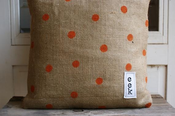 Eek...It's a Halloween Orange Polka Dot Burlap Pillow Cover
