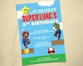 Super Mario Brothers Custom Birthday Party Invitation