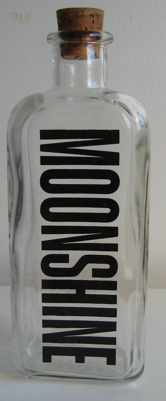 Vintage 60s 70s Mod Glass Liquor Bottle Moonshine By