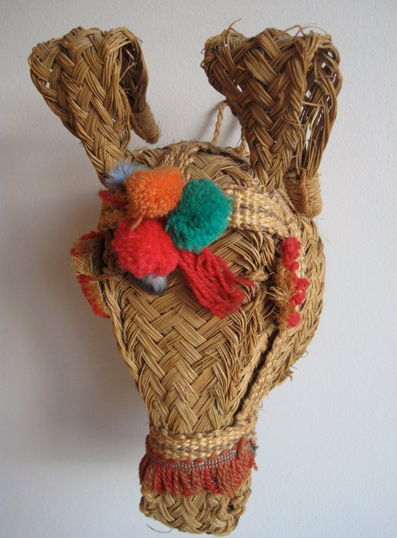 Vintage 50s 60s Mexican Folk Art Straw Horse or Donkey Head