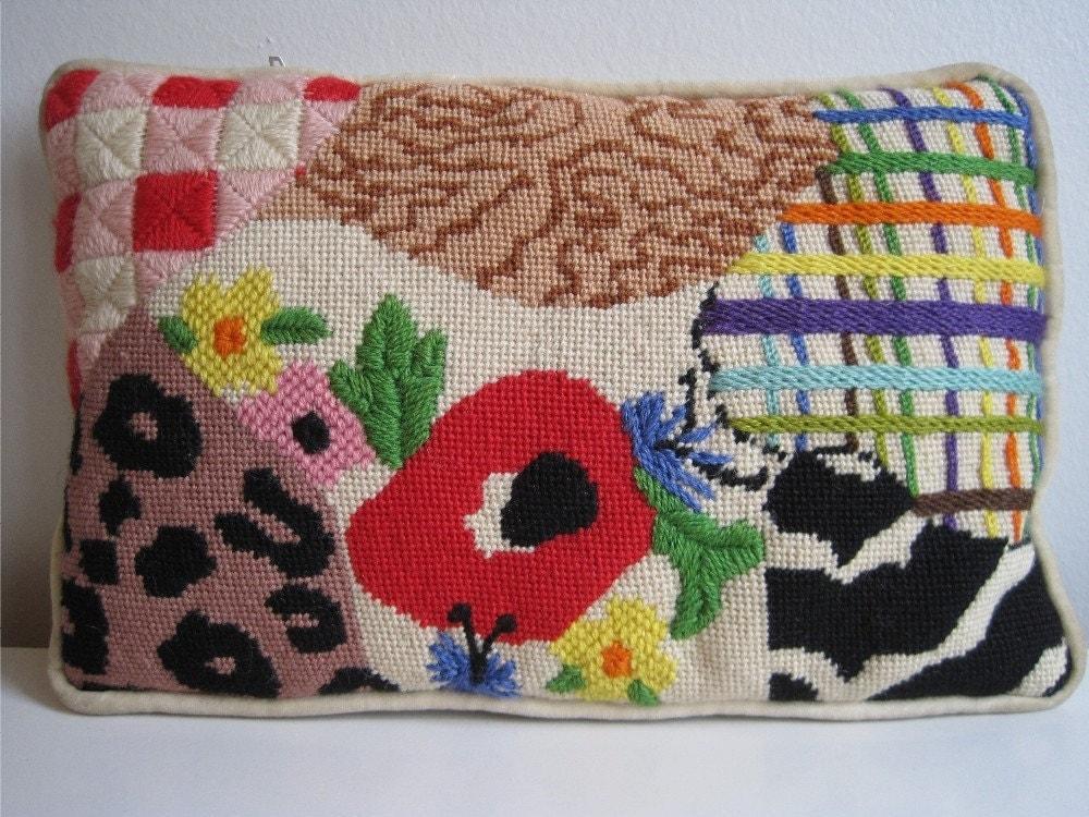 Vintage 60s 70s Mod Needlepoint Pillow Animal by farfallashop
