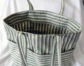 SALE Large Green and White Striped Summer Tote