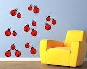 Ladybugs Wall Decal - Set of 17 ladybugs - Ladybirds Wall Sticker