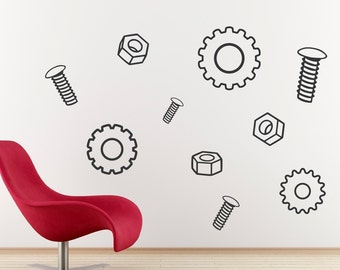 Nuts, Bolts and Gears Vinyl Wall Art - SET of TWO - Children Wall Decals