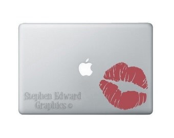 Lips Laptop Decal - Red Smooch Macbook decal - Kiss Decal