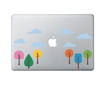 Tree Laptop Decal - Funky Little Trees 2 - Macbook Sticker