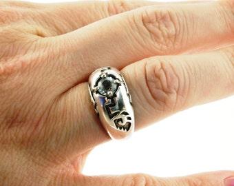 SALE: Deco Sterling Aquamarine Ring